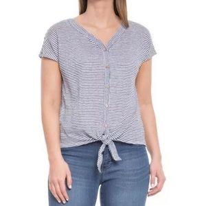 Rachel Zoe Linen Striped Button Up Tie Front Top
